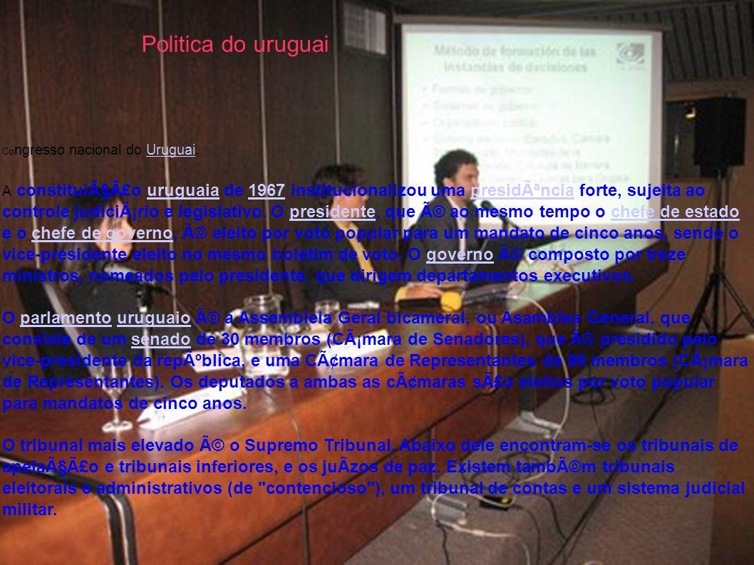 Co ngresso nacional do Uruguai.Uruguai A constituição uruguaia de 1967 institucionalizou uma presidência forte, sujeita ao controle judiciário e l
