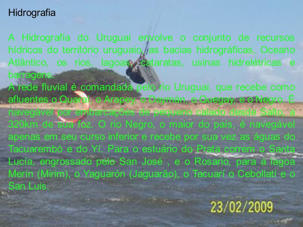 Hidrografia A Hidrografia do Uruguai envolve o conjunto de recursos hídricos do território uruguaio, as bacias hidrográficas, Oceano Atlântico, os rio