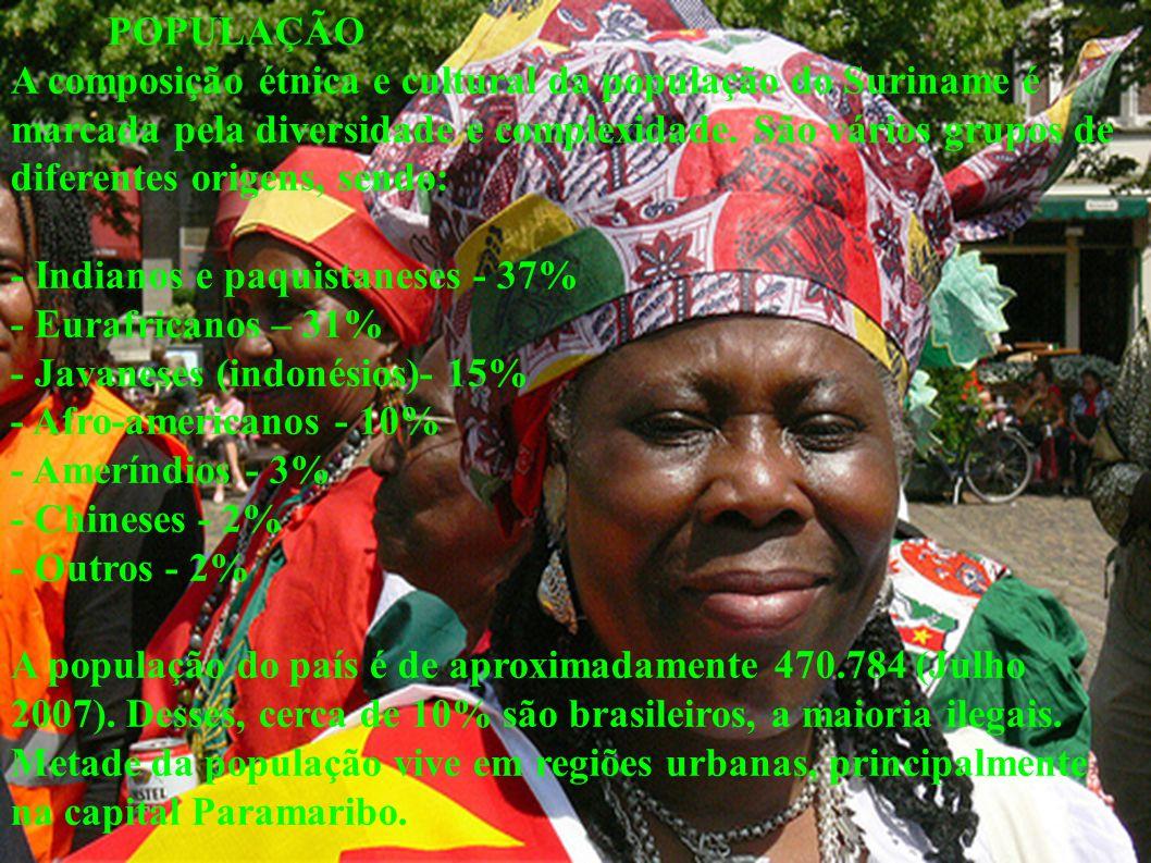 POPULAÇÃO A composição étnica e cultural da população do Suriname é marcada pela diversidade e complexidade. São vários grupos de diferentes origens,
