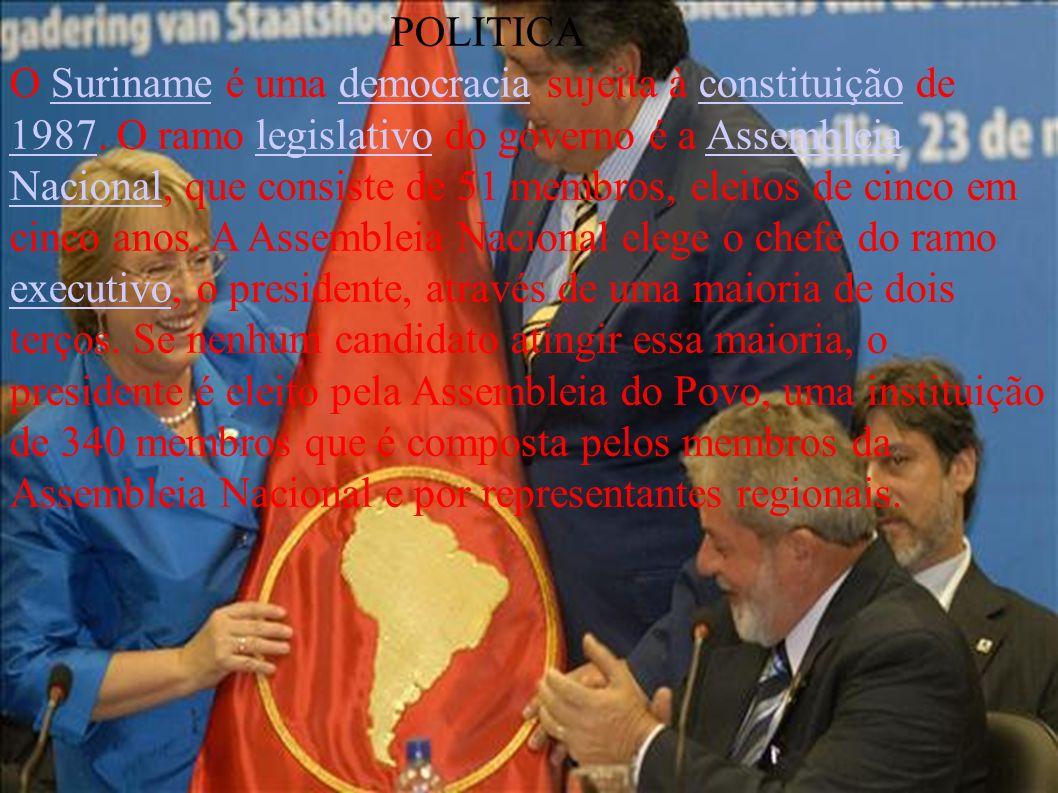 POLITICA O Suriname é uma democracia sujeita à constituição de 1987. O ramo legislativo do governo é a Assembleia Nacional, que consiste de 51 membros