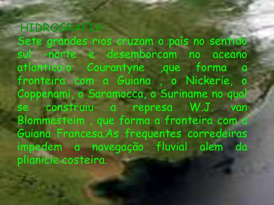 HIDROGRAFIA Sete grandes rios cruzam o país no sentido sul -norte e desemborcam no aceano atlantico:o Courantyne,que forma a fronteira com a Guiana, o