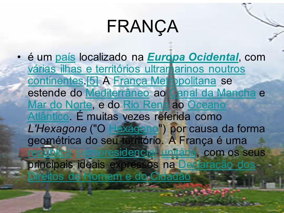 FRANÇA é um país localizado na Europa Ocidental, com várias ilhas e territórios ultramarinos noutros continentes.[5] A França Metropolitana se estende