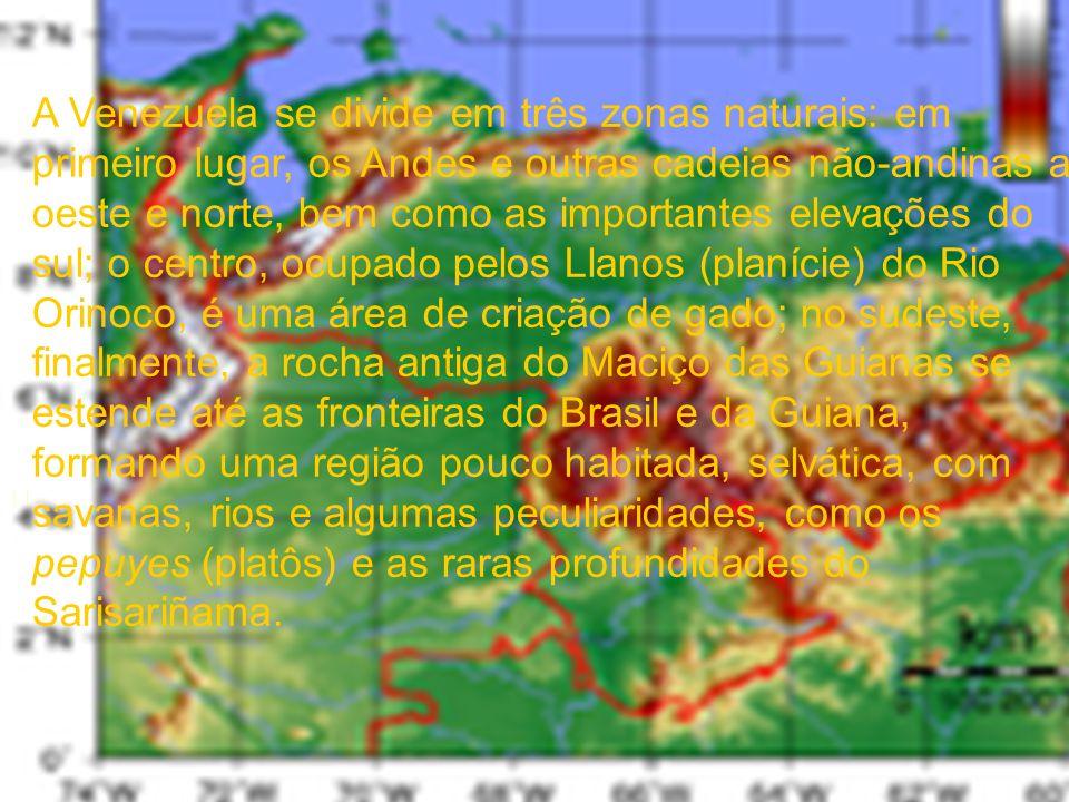 A Venezuela se divide em três zonas naturais: em primeiro lugar, os Andes e outras cadeias não-andinas a oeste e norte, bem como as importantes elevaç