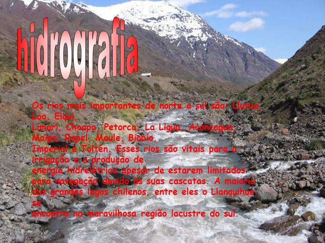 Os rios mais importantes de norte a sul são: Llutua, Loa, Elqui, Limarí, Choapa, Petorca, La Ligua, Aconcagua, Maipo, Rapel, Maule, Biobío, Imperial e