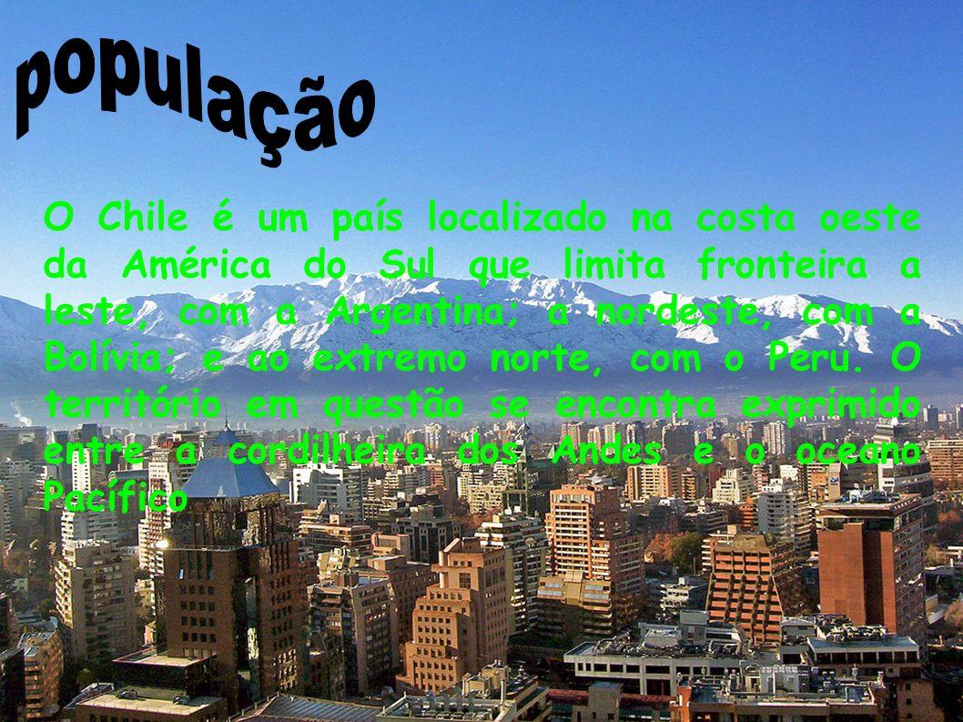 O Chile é um país localizado na costa oeste da América do Sul que limita fronteira a leste, com a Argentina; a nordeste, com a Bolívia; e ao extremo n