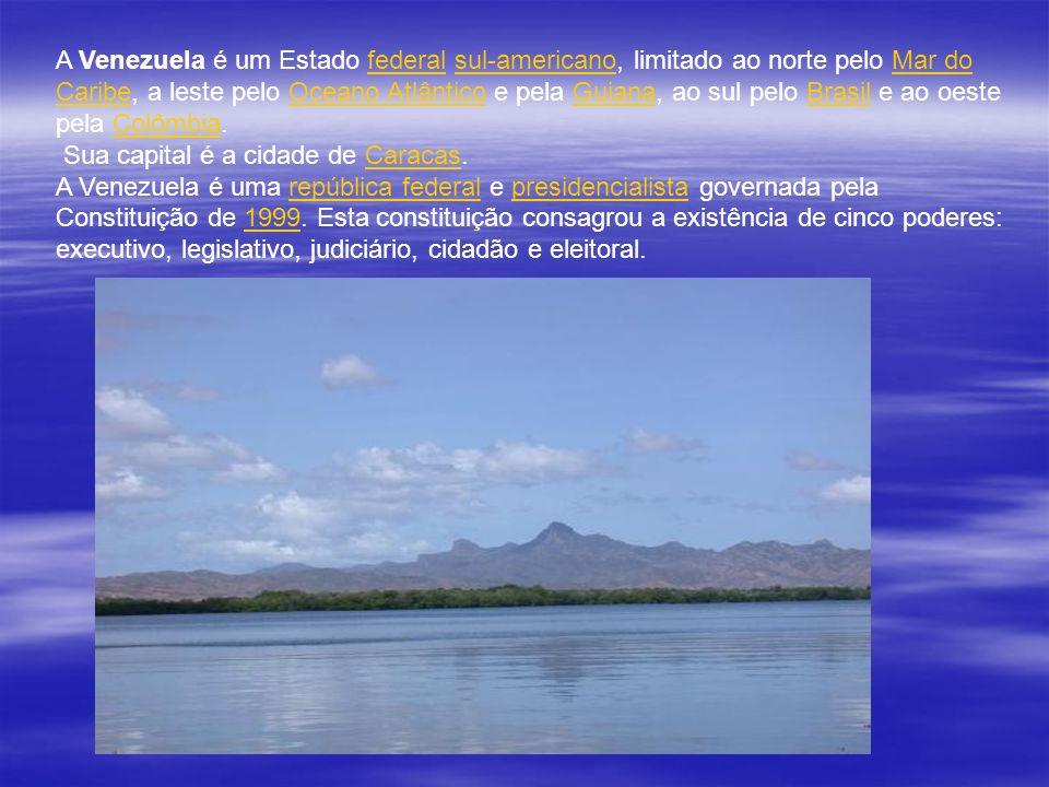 A Venezuela é um Estado federal sul-americano, limitado ao norte pelo Mar do Caribe, a leste pelo Oceano Atlântico e pela Guiana, ao sul pelo Brasil e