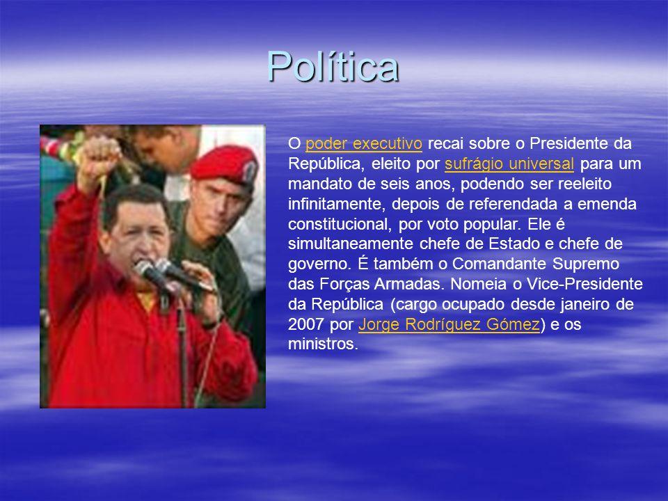 Política O poder executivo recai sobre o Presidente da República, eleito por sufrágio universal para um mandato de seis anos, podendo ser reeleito inf