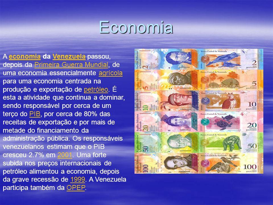 Economia A economia da Venezuela passou, depois da Primeira Guerra Mundial, de uma economia essencialmente agrícola para uma economia centrada na prod
