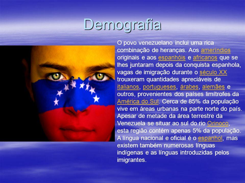 Demografia O povo venezuelano inclui uma rica combinação de heranças. Aos ameríndios originais e aos espanhóis e africanos que se lhes juntaram depois