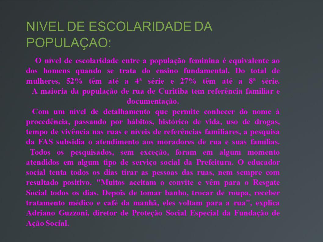 NÍVEL DE ESCOLARIDADE DA POPULAÇÃO