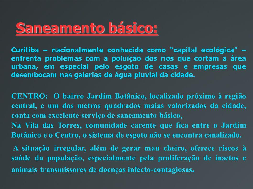 Saneamento básico: Curitiba – nacionalmente conhecida como capital ecológica – enfrenta problemas com a poluição dos rios que cortam a área urbana, em especial pelo esgoto de casas e empresas que desembocam nas galerias de água pluvial da cidade.