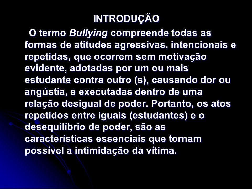 INTRODUÇÃO INTRODUÇÃO O termo Bullying compreende todas as formas de atitudes agressivas, intencionais e repetidas, que ocorrem sem motivação evidente