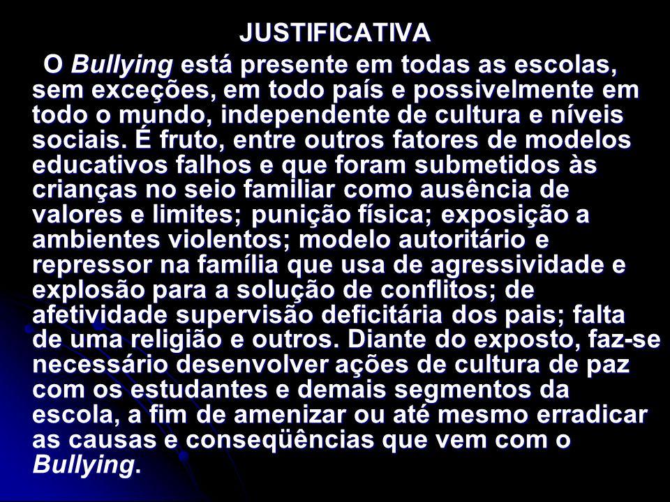 JUSTIFICATIVA O Bullying está presente em todas as escolas, sem exceções, em todo país e possivelmente em todo o mundo, independente de cultura e níve