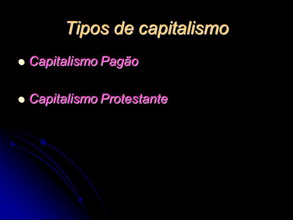Tipos de capitalismo Capitalismo Pagão Capitalismo Pagão Capitalismo Protestante Capitalismo Protestante