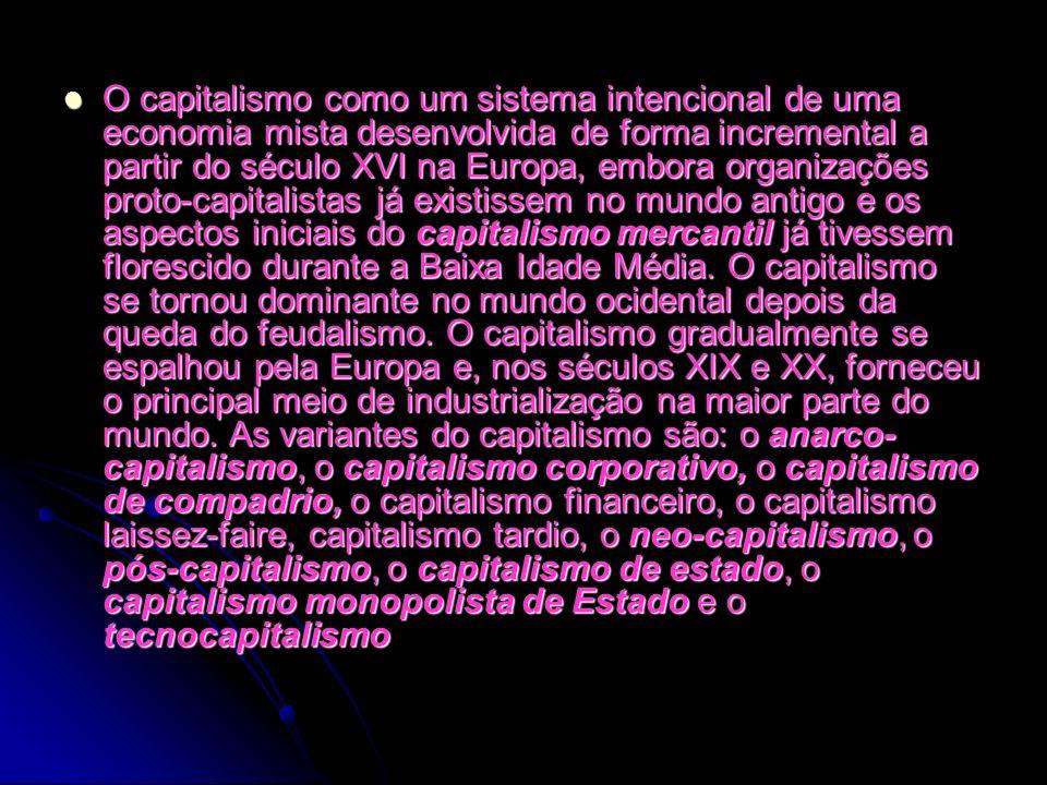 O capitalismo como um sistema intencional de uma economia mista desenvolvida de forma incremental a partir do século XVI na Europa, embora organizaçõe