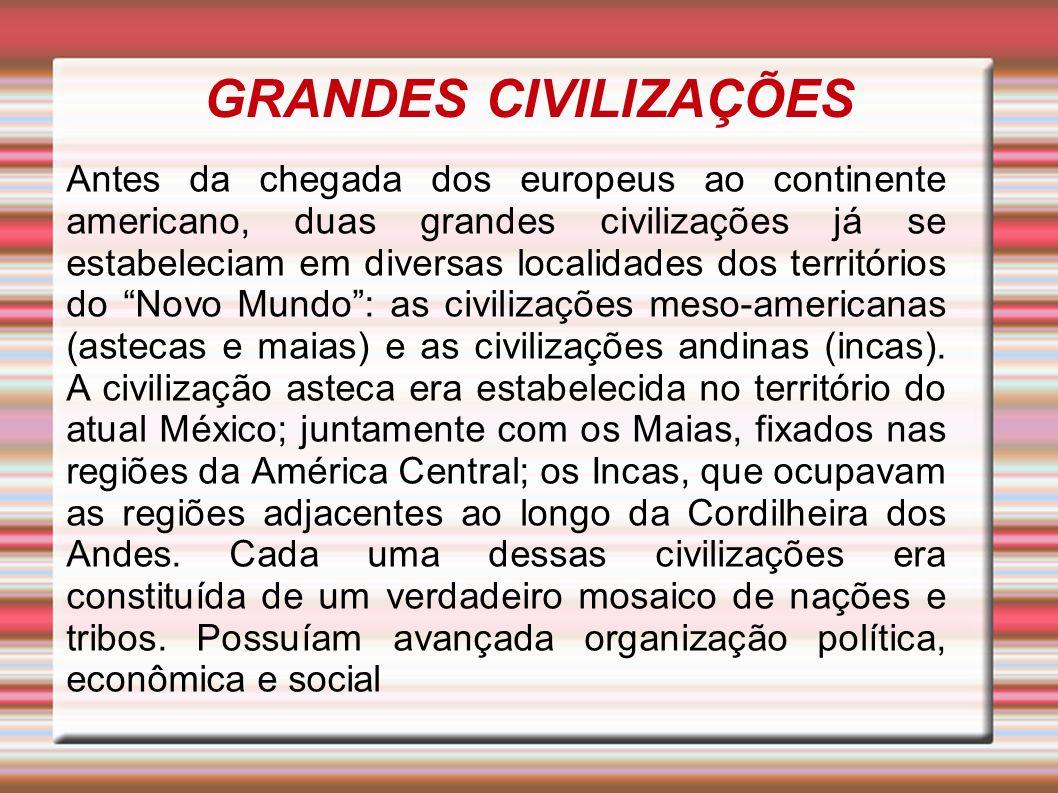 GRANDES CIVILIZAÇÕES Antes da chegada dos europeus ao continente americano, duas grandes civilizações já se estabeleciam em diversas localidades dos t