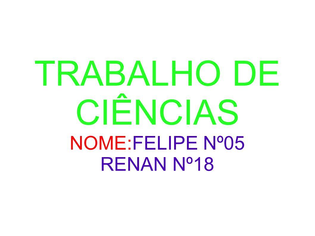 TRABALHO DE CIÊNCIAS NOME:FELIPE Nº05 RENAN Nº18