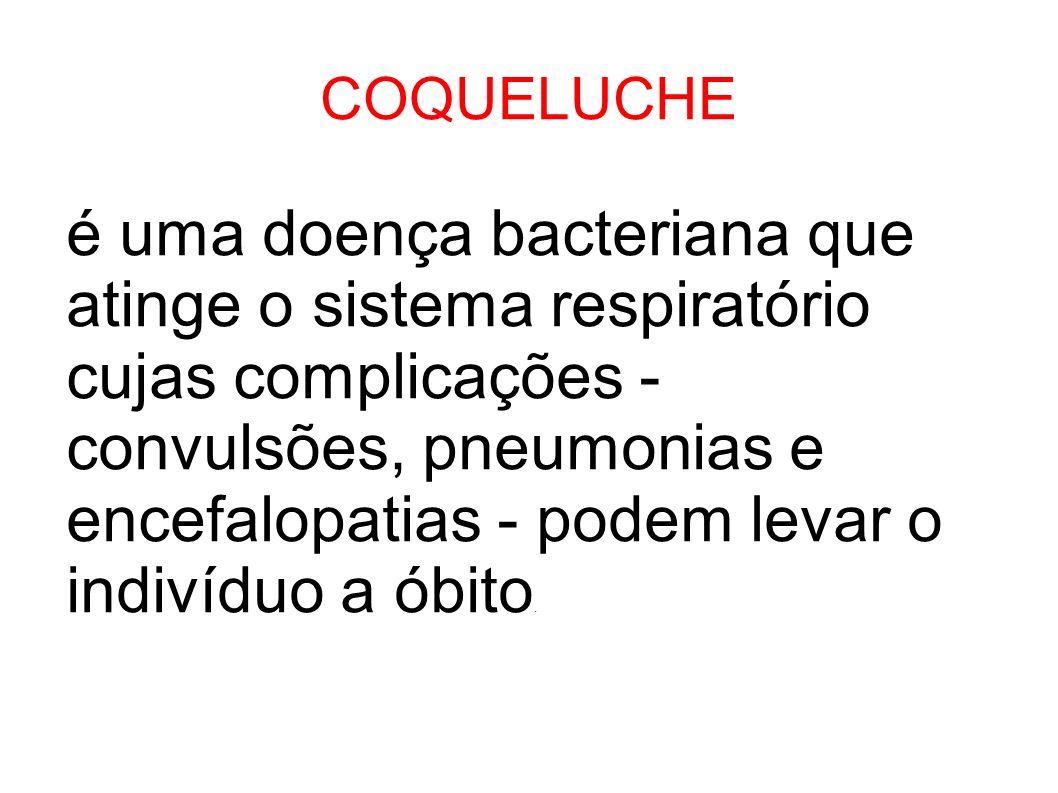 COQUELUCHE é uma doença bacteriana que atinge o sistema respiratório cujas complicações - convulsões, pneumonias e encefalopatias - podem levar o indi
