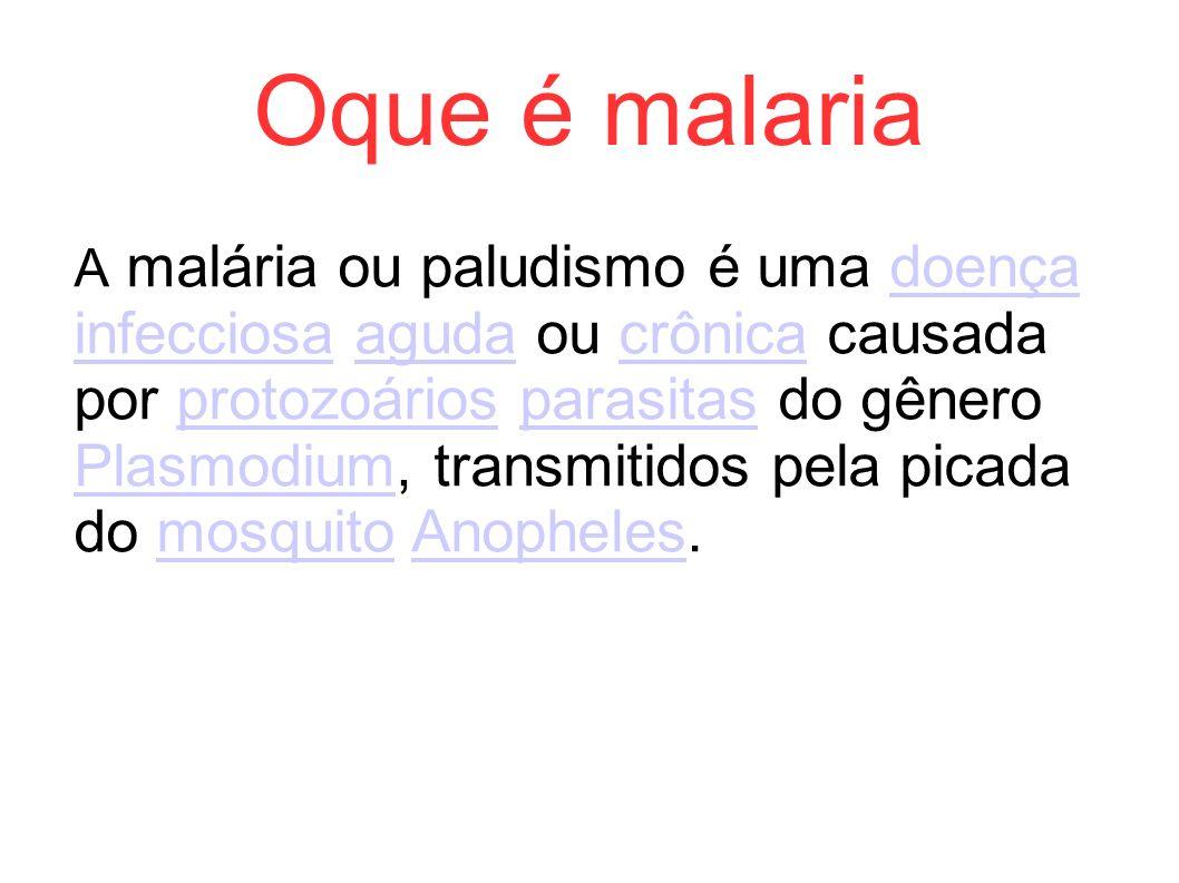 Oque é malaria A malária ou paludismo é uma doença infecciosa aguda ou crônica causada por protozoários parasitas do gênero Plasmodium, transmitidos p