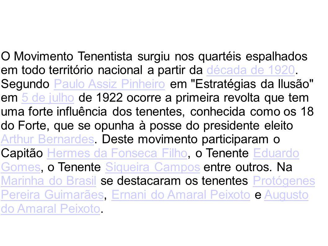 O Movimento Tenentista surgiu nos quartéis espalhados em todo território nacional a partir da década de 1920. Segundo Paulo Assiz Pinheiro em