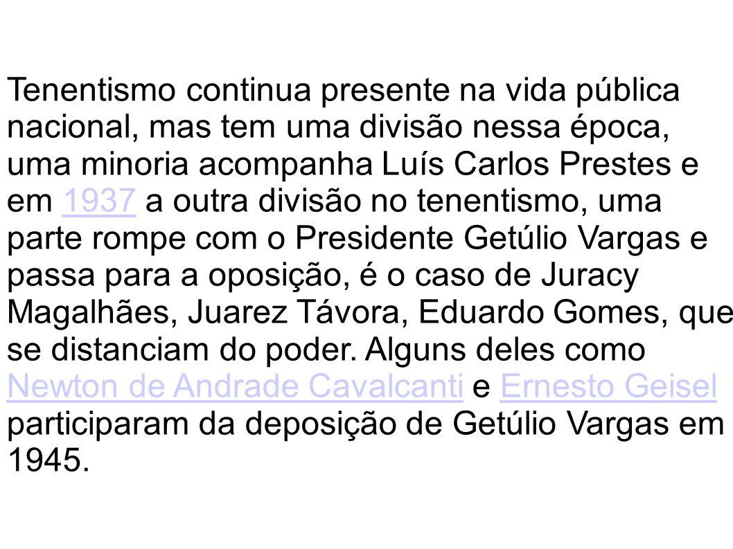 Tenentismo continua presente na vida pública nacional, mas tem uma divisão nessa época, uma minoria acompanha Luís Carlos Prestes e em 1937 a outra di