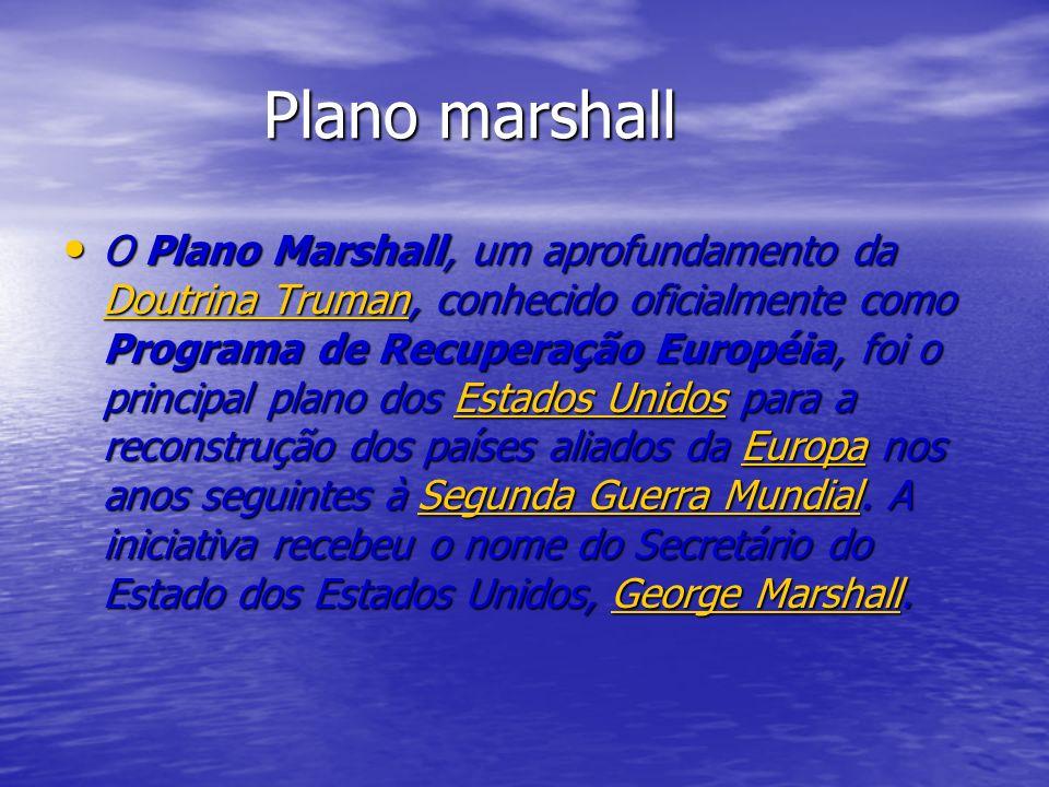 Plano marshall Plano marshall O Plano Marshall, um aprofundamento da Doutrina Truman, conhecido oficialmente como Programa de Recuperação Européia, foi o principal plano dos Estados Unidos para a reconstrução dos países aliados da Europa nos anos seguintes à Segunda Guerra Mundial.