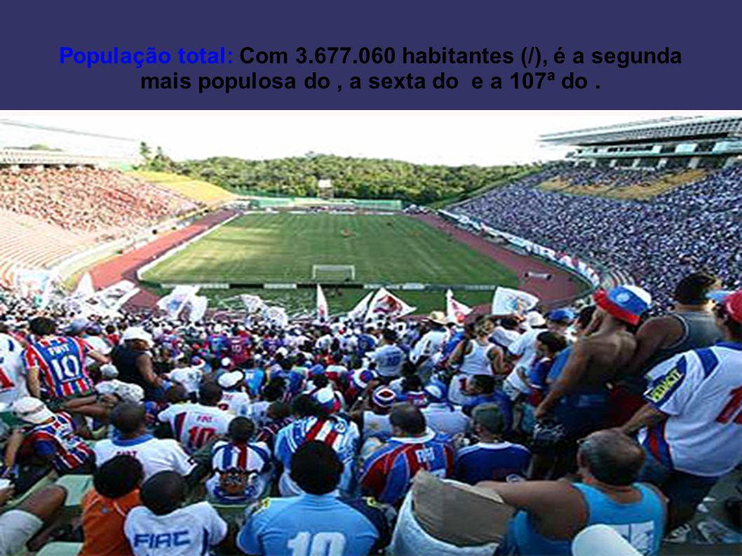 População total: Com 3.677.060 habitantes (/), é a segunda mais populosa do, a sexta do e a 107ª do.