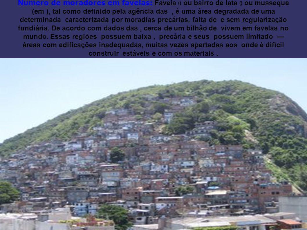 Numero de moradores em favelas: Favela () ou bairro de lata () ou musseque (em ), tal como definido pela agência das, é uma área degradada de uma determinada caracterizada por moradias precárias, falta de e sem regularização fundiária.