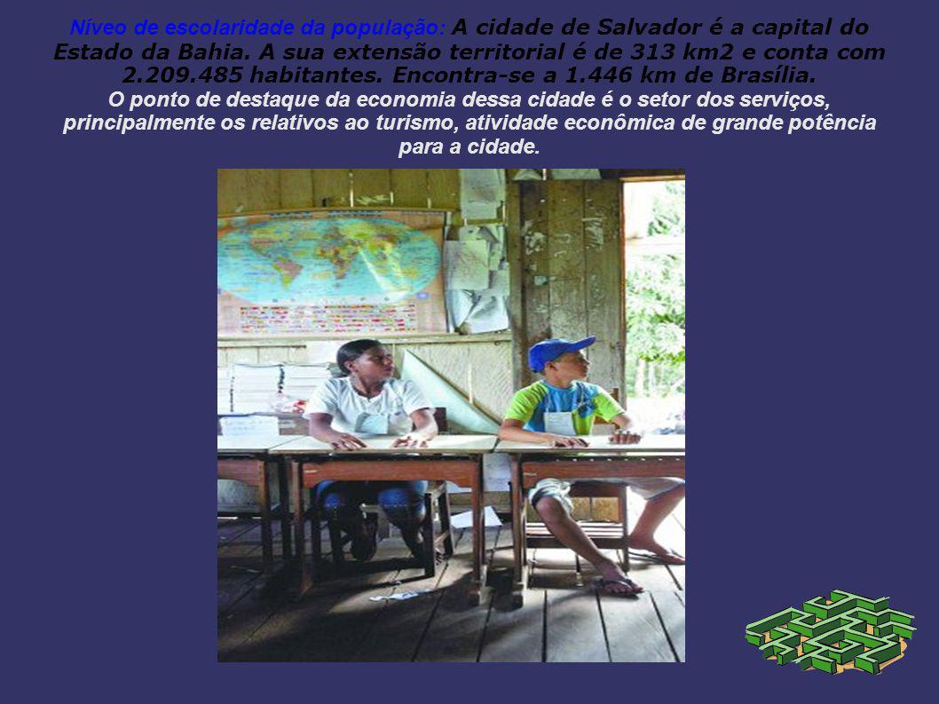 Níveo de escolaridade da população: A cidade de Salvador é a capital do Estado da Bahia.