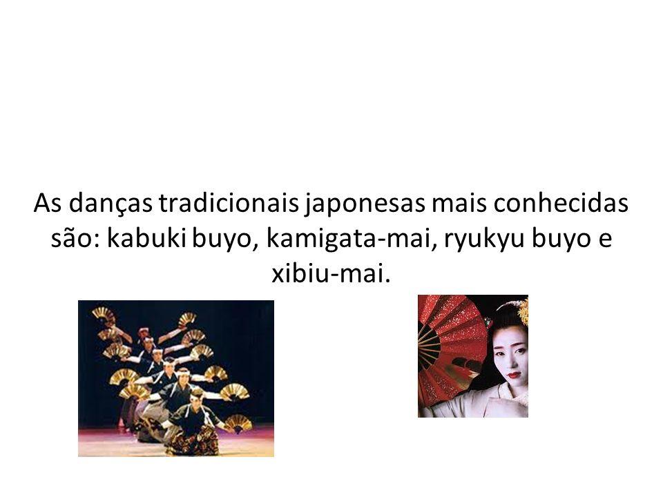 As danças tradicionais japonesas mais conhecidas são: kabuki buyo, kamigata-mai, ryukyu buyo e xibiu-mai.