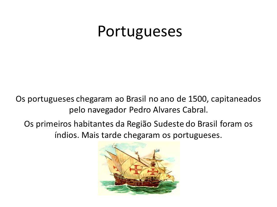 Os portugueses chegaram ao Brasil no ano de 1500, capitaneados pelo navegador Pedro Alvares Cabral. Os primeiros habitantes da Região Sudeste do Brasi