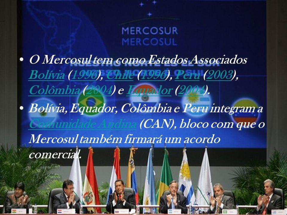 O Mercosul tem como Estados Associados Bolívia (1996), Chile (1996), Peru (2003), Colômbia (2004) e Equador (2004). Bolívia1996Chile1996Peru2003 Colôm
