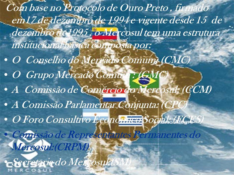Com base no Protocolo de Ouro Preto, firmado em17 de dezembro de 1994 e vigente desde 15 de dezembro de1995, o Mercosul tem uma estrutura instituciona