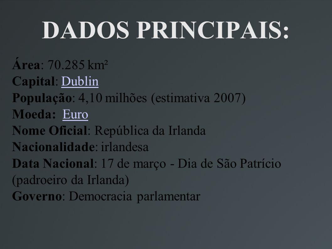 DADOS PRINCIPAIS: Área: 70.285 km² Capital: Dublin População: 4,10 milhões (estimativa 2007) Moeda: Euro Nome Oficial: República da Irlanda Nacionalid