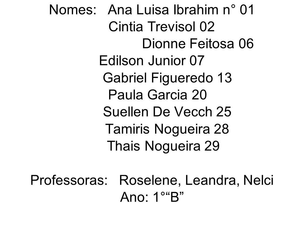 Nomes: Ana Luisa Ibrahim n° 01 Cintia Trevisol 02 Dionne Feitosa 06 Edilson Junior 07 Gabriel Figueredo 13 Paula Garcia 20 Suellen De Vecch 25 Tamiris