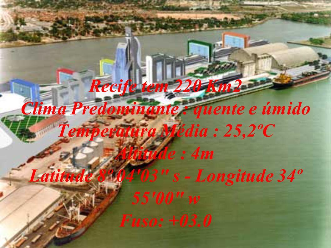Recife tem 220 Km2 Clima Predominante : quente e úmido Temperatura Média : 25,2ºC Altitude : 4m Latitude 8º 04 03 s - Longitude 34º 55 00 w Fuso: +03.0