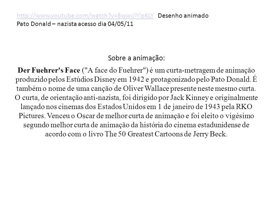 Sobre a animação: Der Fuehrer s Face ( A face do Fuehrer ) é um curta-metragem de animação produzido pelos Estúdios Disney em 1942 e protagonizado pelo Pato Donald.