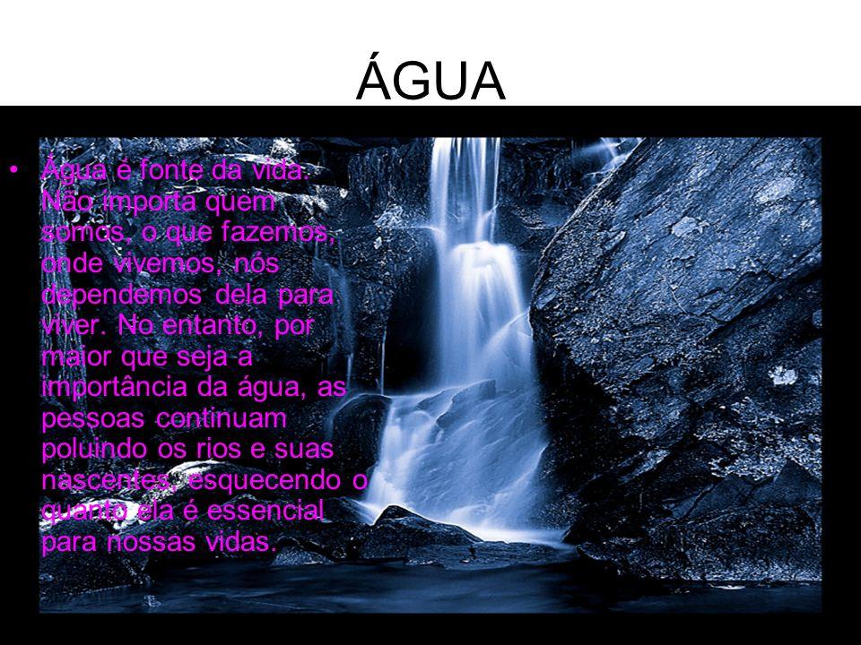 ÁGUA Água é fonte da vida. Não importa quem somos, o que fazemos, onde vivemos, nós dependemos dela para viver. No entanto, por maior que seja a impor
