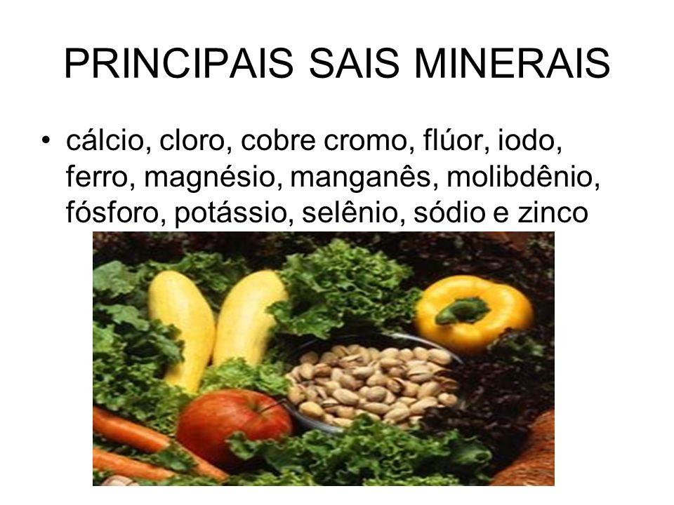 PRINCIPAIS SAIS MINERAIS cálcio, cloro, cobre cromo, flúor, iodo, ferro, magnésio, manganês, molibdênio, fósforo, potássio, selênio, sódio e zinco