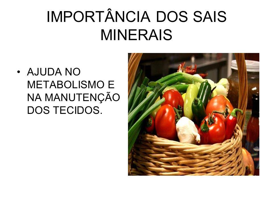 IMPORTÂNCIA DOS SAIS MINERAIS AJUDA NO METABOLISMO E NA MANUTENÇÃO DOS TECIDOS.