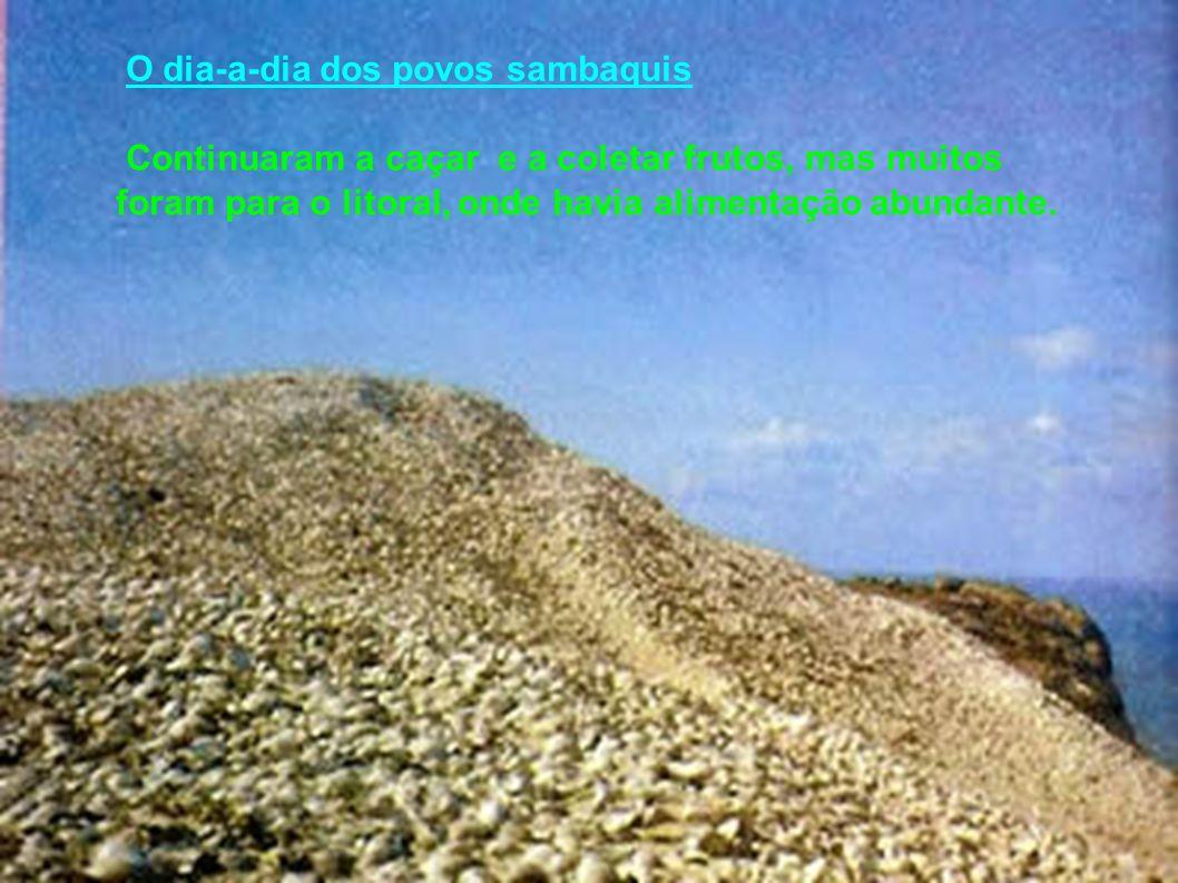 O dia-a-dia dos povos sambaquis Continuaram a caçar e a coletar frutos, mas muitos foram para o litoral, onde havia alimentação abundante.