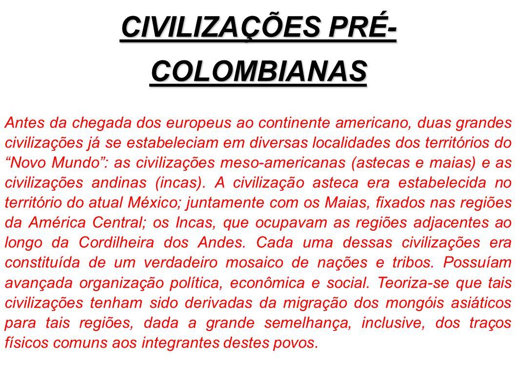 CIVILIZAÇÕES PRÉ- COLOMBIANAS Antes da chegada dos europeus ao continente americano, duas grandes civilizações já se estabeleciam em diversas localida