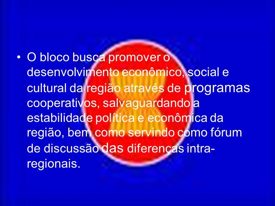 O bloco busca promover o desenvolvimento econômico, social e cultural da região através de programas cooperativos, salvaguardando a estabilidade política e econômica da região, bem como servindo como fórum de discussão das diferenças intra- regionais.
