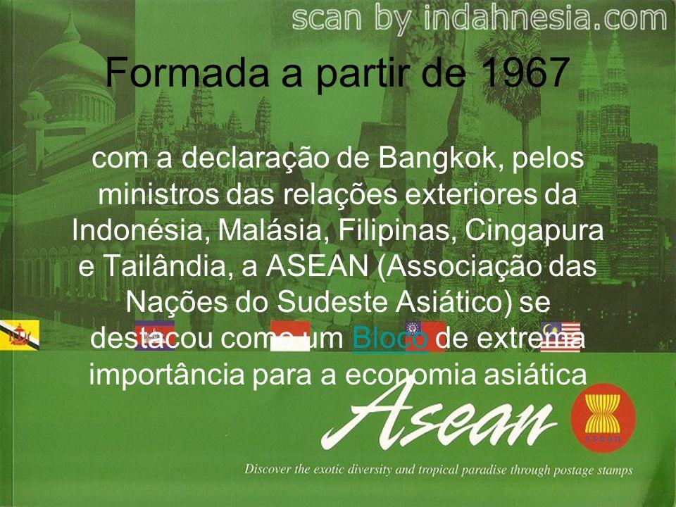 Formada a partir de 1967 com a declaração de Bangkok, pelos ministros das relações exteriores da Indonésia, Malásia, Filipinas, Cingapura e Tailândia, a ASEAN (Associação das Nações do Sudeste Asiático) se destacou como um Bloco de extrema importância para a economia asiáticaBloco