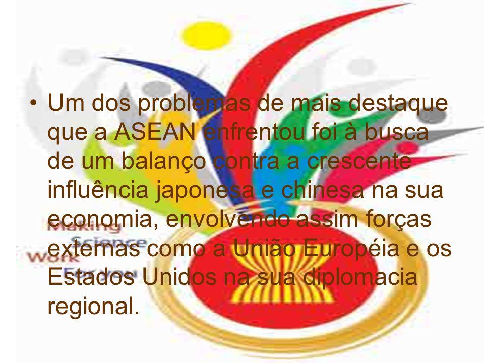 Um dos problemas de mais destaque que a ASEAN enfrentou foi à busca de um balanço contra a crescente influência japonesa e chinesa na sua economia, envolvendo assim forças externas como a União Européia e os Estados Unidos na sua diplomacia regional.