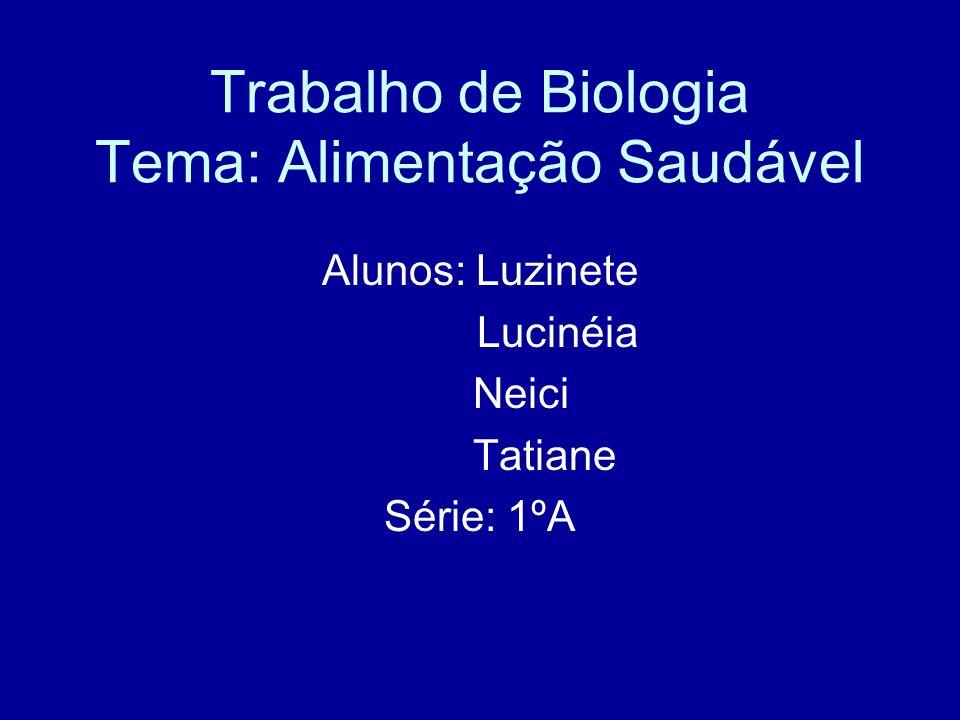 Trabalho de Biologia Tema: Alimentação Saudável Alunos: Luzinete Lucinéia Neici Tatiane Série: 1ºA