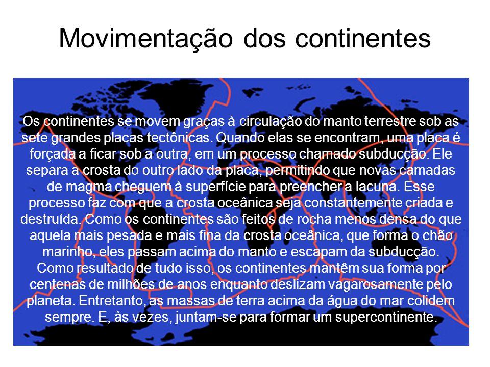 Movimentação dos continentes Os continentes se movem graças à circulação do manto terrestre sob as sete grandes placas tectônicas.