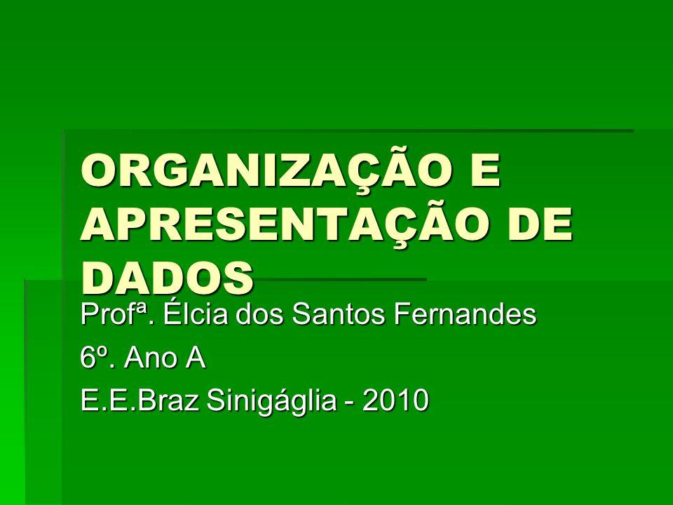 ORGANIZAÇÃO E APRESENTAÇÃO DE DADOS Profª. Élcia dos Santos Fernandes 6º. Ano A E.E.Braz Sinigáglia - 2010