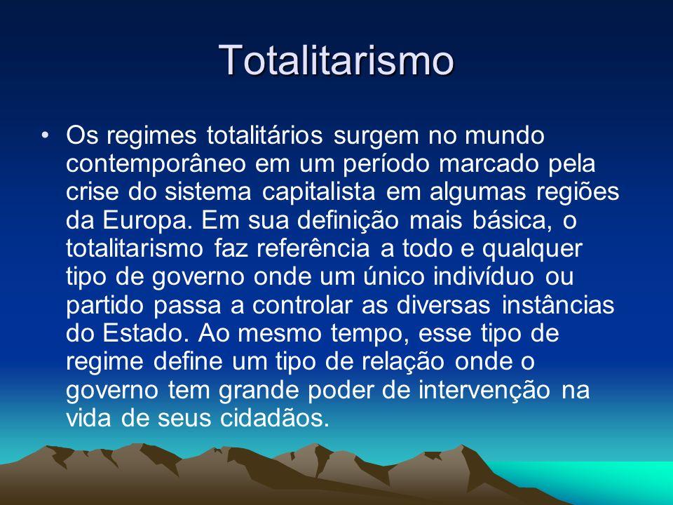 Totalitarismo Os regimes totalitários surgem no mundo contemporâneo em um período marcado pela crise do sistema capitalista em algumas regiões da Euro