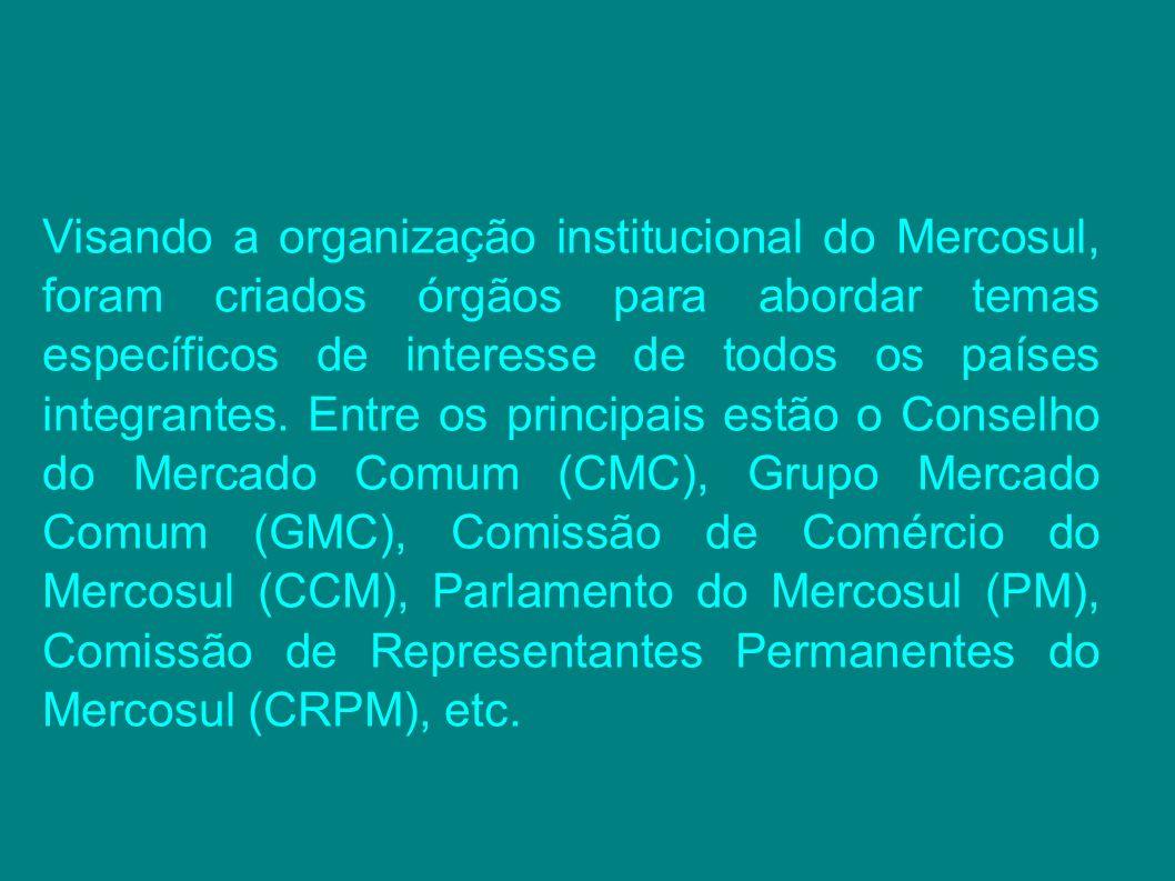 Visando a organização institucional do Mercosul, foram criados órgãos para abordar temas específicos de interesse de todos os países integrantes. Entr